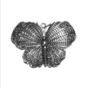 Jewelry - Carved Tibetan silver Butterfly Pendant 69x49x2mm